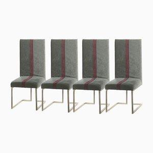 Gebürstete Metallstühle von Guy Lefevre für Maison Jansen, 1970er, 4er Set