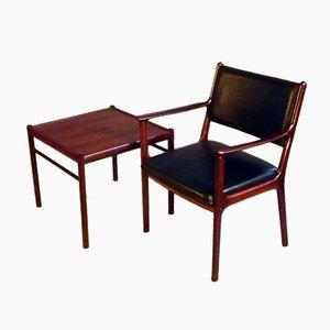 Mid-Century PJ412 Armchair & Side Table by Ole Wanscher for P. Jeppesens Møbelfabrik