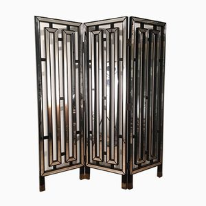 Italian Black Lacquered Wood & Mirror Screen, 1970s