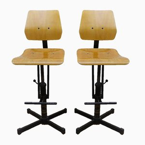 Industrial Beech & Metal High Chairs, 1960s, Set of 2