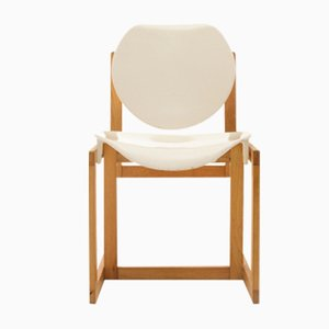 Vintage Italian Wood and White Plastic Chair, 1970s