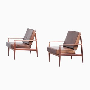 Danish Teak and Leather Armchairs by Grete Jalk for France & Søn, Set of 2