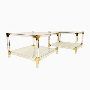 Tavolini vintage a due livelli in lucite, set di 2