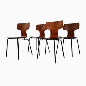 Modell 3103 Teak Hammer Stühle von Arne Jacobsen für Fritz Hansen, 1960er, 4er Set