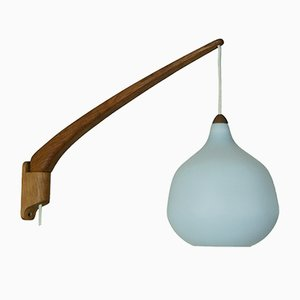 Teak Wall Lamp by Uno & Östen Kristiansson for Luxus Vittsjö Sweden, 1950s