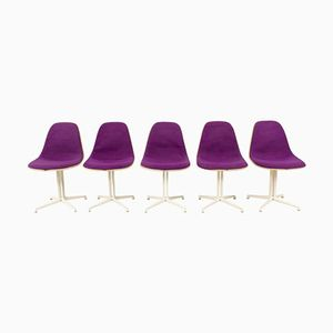 Mid-Century Purple La Fonda Chairs by Charles and Ray Eames for Herman Hiller, 1960s, Set of 5