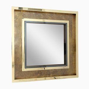 Geätzter Messing Spiegel von Maison Jansen