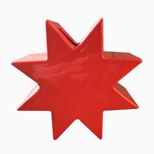 Vase Star Rouge en Céramique par Sottsass