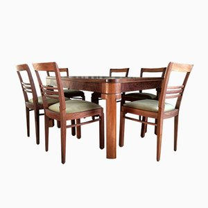 French Dining Set with 7 Chairs, 1920s