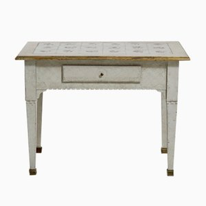 Antique Scandinavian Console with Tiled Tabletop