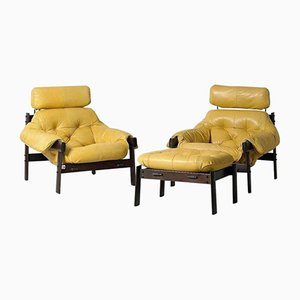 Leather Armchairs and Footstool from Percival Lafer, 1960s