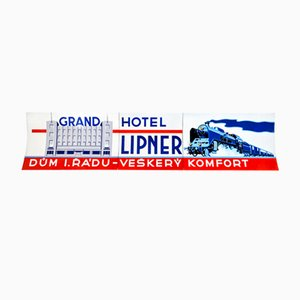Funcionalist Enamel Sign of The Lipner Grand Hotel, 1930s