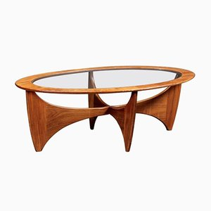 Oval Teak Coffee Table with Glass Top from G-Plan, 1960s