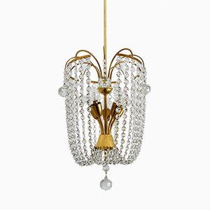 Mid-Century Brass and Crystal Glass Chandelier, 1950s