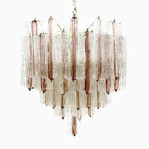 Large Two-Tone Pink & White Murano Glass Chandelier by Toni Zuccheri for Venini, 1960s