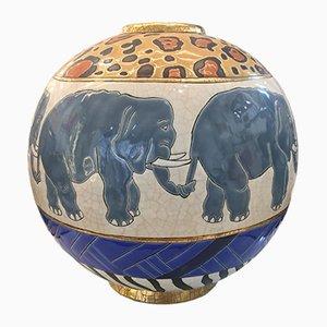 Große Runde Emaillierte Vintage Vase mit Elefanten von Danillo Curreti