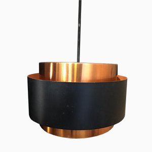 Vintage Black and Copper Pendant Lamp by Jo Hammerborg, 1960