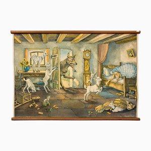 """Cartellone educativo sulla favola de """"Il lupo e i sette capretti"""" di E. Schütz, 1929"""