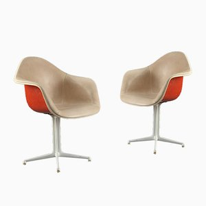 Orange and Beige La Fonda Chairs by Charles and Ray Eames for Herman Miller, Set of 2