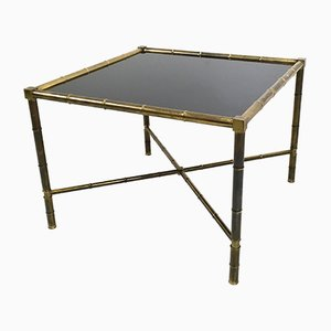 Mid-Century French Brass and Opaline Glass Coffee Table, 1950s