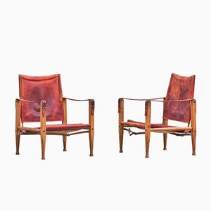 Mid-Century Red Leather and Ash Wood Safari Chairs by Kaare Klint, Set of 2