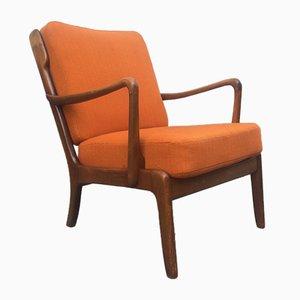 Orangefarbener Dänischer Mid-Century Lehnstuhl aus Gebeizter Eiche von Ole Wanscher für France & Daverkosen, 1950er