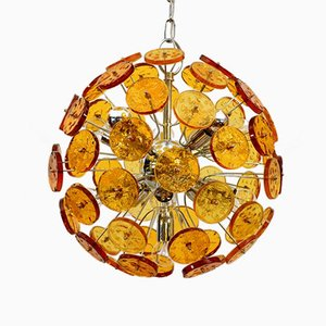 Sputnik Chandelier with Amber-Yellow-Colored Glass, 1970s
