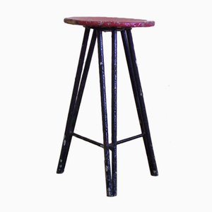 Vintage Industrial Painted Stool