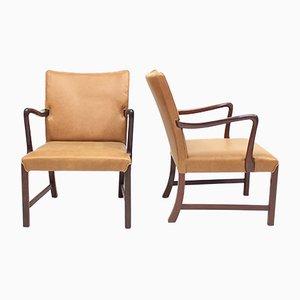 Dänisch 1756 Easy Chairs von Ole Wanscher für Fritz Hansen, 1940er, 2er Set