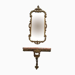 Antique Italian Brass and Pink Marble Baroque Wall Mirror & Console