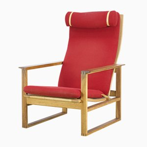 Red Lounge Chair by Borge Mogensen for Fredericia Stolefabrik, 1970s