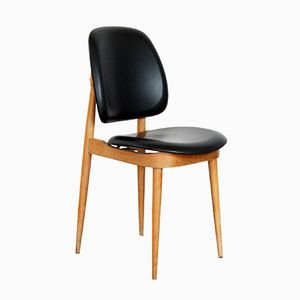 Vintage Solid Beech & Black Pine Chair by Pierre Guariche