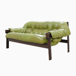 Model MP 041 Green Leather Sofa from Percival Lafer, 1961