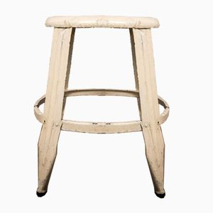 Vintage Industrial White Steel Stool from Nicolle