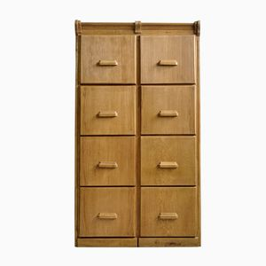 Bauhaus Light Oak Double Office Drawer Cabinet, 1930s