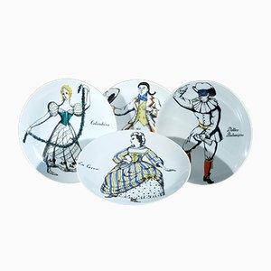 Assiettes Vintage Commedia dell'Arte Maschere en Porcelaine par Piero Fornasetti, Italie, Set de 4