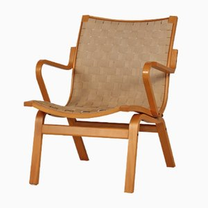 Scandinavian Easy Chair in Beech and Canvas, 1970s