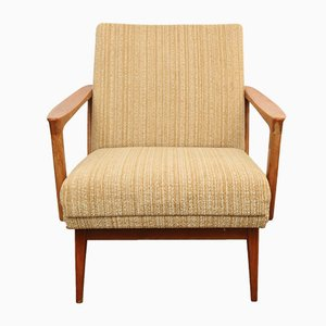 Mid-Century Solid Cherry Wood Lounge Chair, 1950s