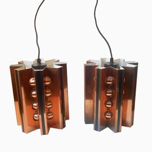Danish Star-Shaped Copper Pendant Lamps by Werner Schou for Coronell, 1960s, Set of 2