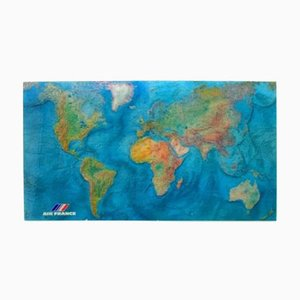 Carte du Monde Vintage en Acrylique par M. Morel pour Air France, 1980