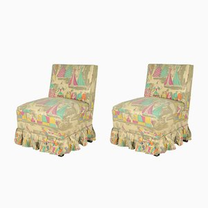 Italian Bedroom Side Chairs with Print by Gio Ponti for JSA, 1948, Set of 2