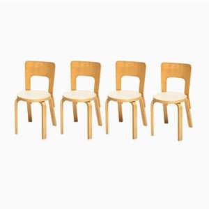 Vintage Modell 66 Esszimmerstühle von Alvar Aalto für Artek, 4er Set