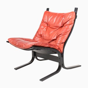 Norwegian Siesta Bentwood and Leather Lounge Chair by Ingmar Relling for Westnofa, 1960s