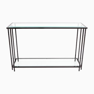 Black Chromed Two Tier Console Table from M2000, 1980s