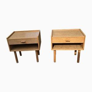 Vintage Oak Bed Side Tables by Hans J. Wegner for Ry Møbler, Set of 2