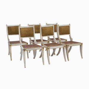 Antike Esszimmerstühle in Weiß & Braun, 6er Set