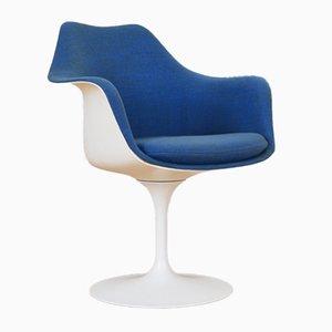 Mid-Century Tulip Armlehnstuhl in Blau und Weiß von Eero Saarinen für Knoll, 1950er