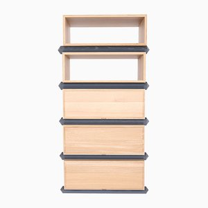 Stack Storage Five-Tier Wood Open Shelves and Drawers Combination from Debra Folz Design