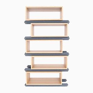 Stack Storage Five-Tier Wood Staggered Open Shelves from Debra Folz Design