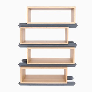 Stack Storage Four-Tier Wood Staggered Open Shelves from Debra Folz Design